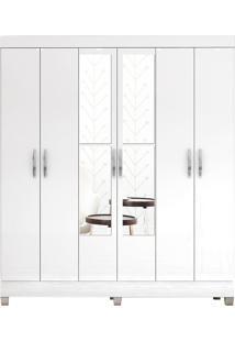 Guarda-Roupa Miami Branco 6 Portas 2 Gavetas Internas E Espelho - Incorplac