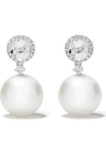 Kiki Mcdonough Par De Brincos Em Ouro Branco 18K Com Pérola, Topázio E Diamante - White Gold