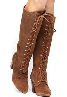 Bota Couro Cano Alto Shoestock Amarração - Feminino-Caramelo