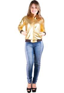 Jaqueta Banna Hanna Bomber Resinada Ouro - Feminino-Ouro