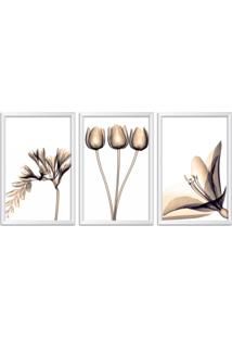 Quadro Oppen House 60X120Cm Flores Abstrato Transparentes Moldura Branca Estilo Raio X Decorativo Interiores Mod:Oh0012