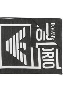 Emporio Armani Cachecol Com Logo Bordado - Preto