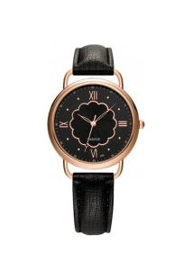 Relógio Feminino Yazole 399 - Preto Com Preto
