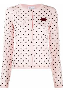 Red Valentino Cardigan Com Poás - Rosa