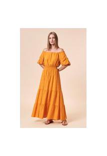 Vestido Longo Camadas Manga Bufante