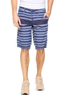 Bermuda Calvin Klein Jeans Chino Listras Azul