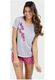 89e6f4805 Marisa. Pijama Feminino Short Doll Estampa Floral Manga Curta Marisa
