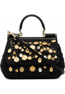 Dolce & Gabbana Bolsa Tote Sicily Pequena Com Aplicações - Preto