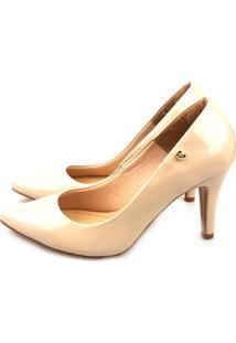 Scarpin Love Shoes Bico Fino Alto Verniz Bege