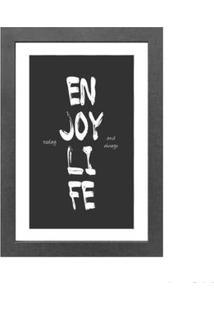 Quadro Decorativo Enjoy Life 23X33Cm Cinza Infinity