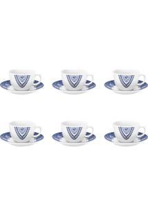 Conjunto 6 Xícaras De Chá C/ Pires Oxford Flamingo Milano Branco/Azul