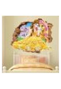 Adesivo De Parede Buraco Falso 3D Princesa Bela - M 61X75Cm