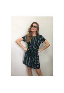 Vestido Poá Com Amarração Vesi80818 Verde