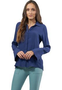 Camisa Mx Fashion Viscose Whitney Azul Carbono