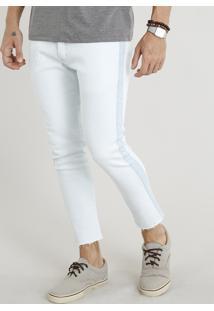 Calça Jeans Masculina Slim Cropped Com Recorte Lateral Azul Claro