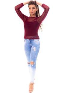 Blusa Moda Vicio Gola Careca Manga Longa Tule Feminino - Feminino-Vinho