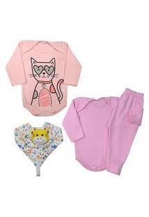 Kit 4 Pçs Presente Para Enxoval Bebê Estiloso E Confortável Rosa