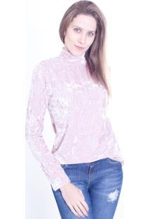 Blusa Gup'S Jeans Gola Veludo Rosa