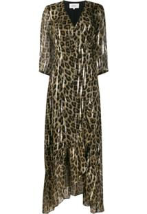 Ba&Sh Vestido Evasê Longo Com Estampa De Leopardo - Neutro