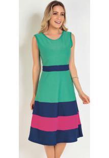 Vestido Tricolor Evasê Moda Evangélica
