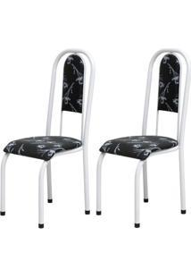 Cadeira Assento Anatomico 2 Peças 00122 Branco Preto Floral Archeli