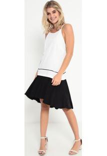 Vestido Com Recortes- Off White & Preto- Sommersommer