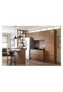 Cozinha Modulada Multimóveis 5464R Calábria 8 Peças Nogueira