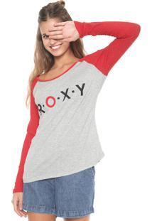 Camiseta Roxy Soul Searching Cinza/Vermelha