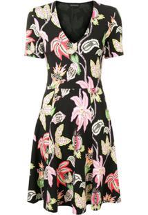 Etro Floral Print Skater Dress - Preto