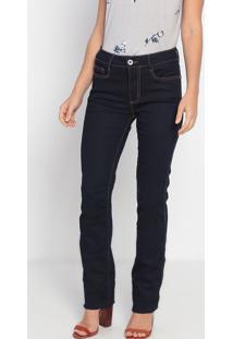 Jeans Reto Com Pespontos- Azul Escuro- Ennaenna