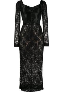 Dolce & Gabbana Vestido Slim Com Renda - Preto