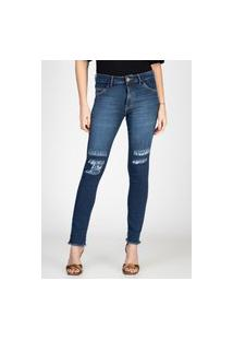 Calça Jeans Skinny Bloom Rasgos Joelho Azul