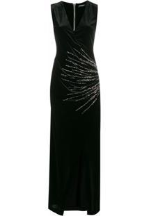 Balmain Vestido Transpassado - Preto