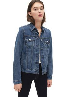 Jaqueta Jeans Gap Pespontos Azul