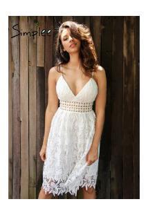 Vestido De Renda Forrado Simplee - Branco