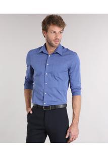 Camisa Masculina Comfort Manga Longa Com Bolso Azul Escuro