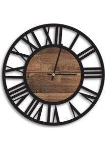 Relógio De Parede Decorativo Premium Vazado Números Romanos Preto Ônix Com Detalhe Madeira Ripada Médio