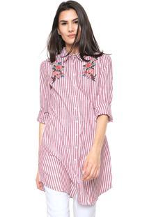 476973136d Camisa Lily Fashion Listrada Branca Vinho