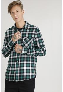 Camisa Masculina Em Flanela Estampada Xadrez Com Bolsos Manga Longa Verde