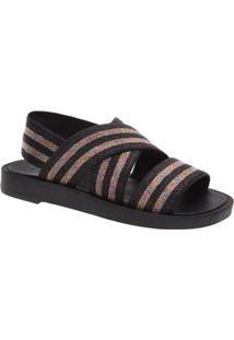 Sandália Fiever Sandal Lurex Color Feminino - Feminino-Preto