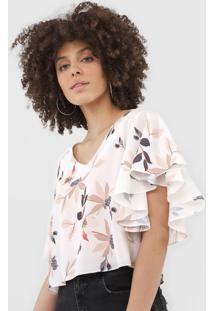 Blusa Cropped Lança Perfume Floral Off-White/Bege - Kanui