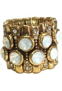 Anel Armazem Rr Bijoux Cristal Swarovski Branco Ouro Velho