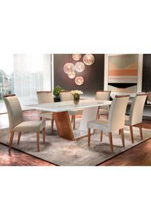 Conjunto De Mesa De Jantar Luna Com 6 Cadeiras Ciana Linho Castor