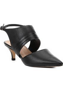 Scarpin Couro Shoestock Salto Baixo Straps - Feminino-Preto