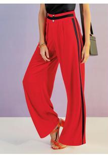Calça Pantalona Em Viscose Vermelho