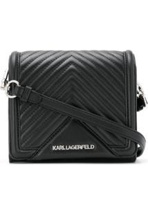 Karl Lagerfeld Bolsa Transversal Klassik Matelassê Pequena - Preto