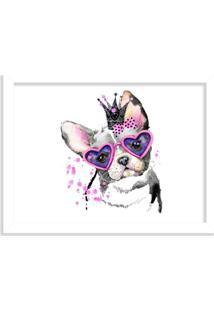Quadro Decorativo Bulldog Princesa Rosa Pink Branco - Grande
