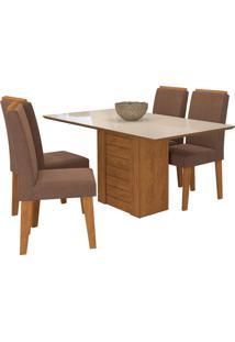 Conjunto De Mesa Com 4 Cadeiras Para Sala De Jantar 180X80 Rafaela/Milena -Cimol - Savana / Off White / Chocolate