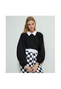 Blusa Cropped Em Algodão Com Manga Bufante E Gola Camisa | Blue Steel | Preto | Gg