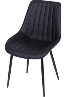 Cadeira Lounge Courino Preta Com Costura Vertical - 51784 - Sun House